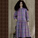 BABARUHA  XXL  - lagenlook fashion design, Ruha, divat, cipő, Női ruha, Ruha, Nadrág, A tél sláger-darabja: Klasszikus, laza babydoll-ruha most színes-kockás puha flanelből.  Mérete: 48-..., Meska