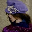 LEVENDULA design-kalapka, Ruha, divat, cipő, Női ruha, Kendő, sál, sapka, kesztyű, Sapka, Kellemes, üde színárnyalat, mérsékelten széles, tűzött karima, kézzel festett diszkrét csipke-díszít..., Meska