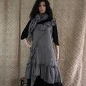 LENÓRA - lenruha XL - lolita-style fashion design, Ruha, divat, cipő, Női ruha, Ruha, Varrás, Nőies, bohém, szabott ruha rusztikus pepita lenszövetből. Rátett zsebbel, alján aszimmetrikus fodor..., Meska