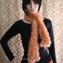 """FLAMINGÓ - PILLE-BOA - design-sál , Ruha, divat, cipő, Kendő, sál, sapka, kesztyű, Sál, Női ruha, Egyedi, látványos kiegészítő: Narancsos """"szempilla"""" selyem-effekt-fonalból kötött sál, amivel színes..., Meska"""