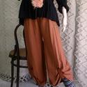 VENEZIA / rozsda nadrág  - lagenlook fashion design, Ruha, divat, cipő, Női ruha, Nadrág, Festett tárgyak, Varrás, Különleges, szép esésű lenszövetből készült szoknyanadrágom. Egybeszabott bő fazon, elöl pánttal fe..., Meska