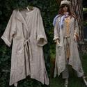 LAGENLOOK - hosszú lenkabátka , Ruha, divat, cipő, Női ruha, Kabát, Könnyű, béleletlen lenvászon-kabátka a réteges öltözködéshez...  Ollós, lógó szélekkel, jobb oldalán..., Meska