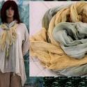 TWEENS / zöld-sárga - géz sál-pár , Ruha, divat, cipő, Női ruha, Kendő, sál, sapka, kesztyű, Sál, Kreatív ruhatárad nélkülözhetetlen darabjai lehetnek ezek a pihe-puha, szegetlen mull-gézből szabott..., Meska