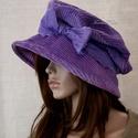 """ANDERSEN - design-kalap, Ruha, divat, cipő, Kendő, sál, sapka, kesztyű, Sapka, Női ruha, Kézzel festett elefántkordból készítettem ezt a romantikus """"mesebeli"""" kalapom. Színe finom ibolyalil..., Meska"""