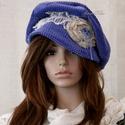 RETRO encián  design-kalap, Ruha, divat, cipő, Női ruha, Kendő, sál, sapka, kesztyű, Sapka, Kézzel festett, puha, selymes-felületű elefánt-kordból terveztem ezt a gomba-fazonú, karimás kalapoc..., Meska