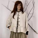 NORA - lagenlook kabátka, Ruha, divat, cipő, Képzőművészet, Női ruha, Textil, Rövid-állású natúr lenvászon kabátka baby-doll stílusban.  Feltűrős ujjakkal, állógalléros csónaknya..., Meska