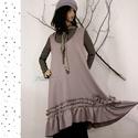 ANETT - púder szett : kötényruha + kabátka XXL, Téli elegancia: Kedvelt ruha-fazonom most finom, ...