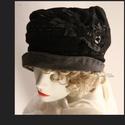 SASKIA - kézműves design-kalap L, Kétrétegű: szén-fekete és grafit-szürke jers...