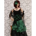 GRANADA - bohém selyemruha - karneválruha, Ruha, divat, cipő, Női ruha, Estélyi ruha, Ruha, Extravagáns Nőknek! Intenzív zöld selyemből és vékony fekete selyem- jersey-ből készítettem ezt a ké..., Meska