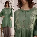 ÁGOTA - romantikus lagenlook ruha , Ruha, divat, cipő, Női ruha, Ruha, Puha, meleg, zöldre festett, bolyhozott pamutvászonból készült, baby-doll fazonú modellem a réteges ..., Meska