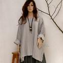 T-SHIRT - csíkos len-tunika, Rusztikus elegancia: Ezüstös galambszürke, köz...