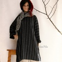 T-SHIRT-DRESS - tunikaruha, Rusztikus elegancia: Fekete-fehér közepes vastag...