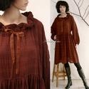 THALIA  - romantikus lagenlook  ruha XXL, Ruha, divat, cipő, Női ruha, Ruha, Csoki-barna könnyű, rusztikus viszkóz kelméből készült nagy méretű baby-doll ruha. A nyakkör befűzöt..., Meska