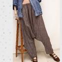 RELAX nadrág - bohém lagenlook, Ruha, divat, cipő, Női ruha, Nadrág, Mokka színű ezüst-szálas lenvászonból készült ez a  kényelmes relax-nadrágom a réteges öltözködés di..., Meska
