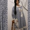 """MÁMOR - design-ruha """"nefelejcs"""", Ruha, divat, cipő, Női ruha, Ruha, Új kollekciómat nyomott mintás pamutvásznakból terveztem a hangulatos lezserség jegyében. Bohém Nőkn..., Meska"""