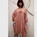 NICOLE -  lagenlook tunika , Ruha, divat, cipő, Női ruha, Blúz, Felsőrész, póló, Egy darabból szabott extravagáns tunikám pasztell rózsaszínre festett változata.  Mérete: L-XXL - on..., Meska