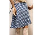 SRÉ - kockás lapszoknya, Ruha, divat, cipő, Női ruha, Szoknya, Kék-fehér pamutvászonból terveztem ezt a hangulatos,  romantikus  szoknyácskát, amit vastag harisnyá..., Meska