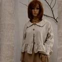 LÓRI - lagenlook vászon-kabátka, Ruha, divat, cipő, Női ruha, Kabát, Blúz, Új modellem a romantikus ruhák kedvelőinek:  Rövid-állású, hátulra hosszabbodó, vékony csíkos lenvás..., Meska