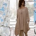 NICOLE -  lagenlook tunikaruha , Ruha, divat, cipő, Női ruha, Ruha, Egy darabból szabott, óriási oldalzsebes, extravagáns modellemet most puha, fémszálas lenvászonból k..., Meska
