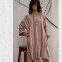 KÖRTETUNIKA / etno - lagenlook ruha, Új-vonalú modellemet puha, csíkos lenszövetbő...