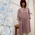 FANNI - baby-doll ingruha, Ruha, divat, cipő, Női ruha, Ruha, Új modellemet bordó-bézs kockás könnyű pamutvászonból készítettem. Gombolással és oldalvarrásba rejt..., Meska