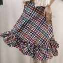 FODROS lapszoknya, Ruha, divat, cipő, Női ruha, Szoknya, Szép esésű multicolor pamut-szövetből készült, egybe-szabott, átlapolós szoknya fodros vég..., Meska