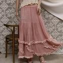 TÜNDE szoknya  -  lagenlook shabby-chic , Ruha, divat, cipő, Női ruha, Ruha, Szoknya, Látványos, fodrokkal díszített aljú hosszú-szoknya  pasztell-rózsaszínre kézzel festett nehéz-gézemb..., Meska