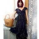 LÍVIA - romantikus lenruha, Ruha, divat, cipő, Női ruha, Szoknya, Ruha, Puha, sötétkék lenszövetből terveztem kétrészes modellemet. Banán-szabású szoknya átkötős felsővel. ..., Meska