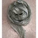 SZIROM-SÁL  /almazöld - fodros batikolt sál, Ruha, divat, cipő, Kendő, sál, sapka, kesztyű, Sál, Női ruha, Sűrű-szövésű, pille-könnyű, finom pamutvászonból készült, srégen szabott, szegetlen (mégsem bomló!) ..., Meska