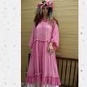 THALIA - pink gézruha , Ruha, divat, cipő, Női ruha, Ruha, Rusztikus, középvastag gézesen-szőtt vászonból készült nagy méretű baby-doll ruha élénk rózsaszínre ..., Meska