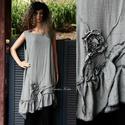FELICIA - applikált design-ruha  , Ruha, divat, cipő, Női ruha, Ruha, Szép-esésű, hűvös tapintású, apró-pepita viszkóz-selyemből készült trikópántos modellem alul fodorra..., Meska