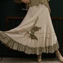 RÉKA - iparművész szoknya  , Ruha, divat, cipő, Női ruha, Szoknya, Ruha, Romantikus Nőknek: Rusztikus nyers lenvászonból készült fodros-aljú hosszú-szoknya egyedi, kézzel-fe..., Meska