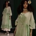 THALIA-ART - zöld batik design-ruha XXL, Ruha, divat, cipő, Női ruha, Ruha, Könnyű pamut-muszlinból  készült nagy méretű baby-doll ruha zöldes batikolással festett változata. M..., Meska