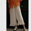 SACI-NACI - lagenlook nadrág, Ruha, divat, cipő, Női ruha, Nadrág, Rusztikus gézemből készítem  ezt a gumis derekú, fodros-aljú, kényelmes nadrágom.  Stílusos alap-dar..., Meska
