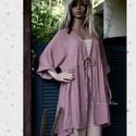 PAULA - lagenlook kabátka, Ruha, divat, cipő, Női ruha, Kabát, Kismamaruha, Vastagabb géz-szövetemből készült, húzott, méret-független átkötős kabátka bágyadt-rózsaszínre (hús-..., Meska