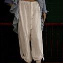 BOGOS - csomózható harang-nadrág, Ruha, divat, cipő, Női ruha, Nadrág, Egybeszabott bő fazonú nadrág állítható gumis derékkal sanzsánosan szőtt fehér lenvászonból. A hasít..., Meska