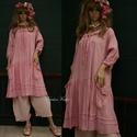 IBI - romantikus flapper-ruha XXL , Ruha, divat, cipő, Női ruha, Ruha, Kismamaruha, Új modellem a réteges öltözködés kedvelőinek:  Kézzel festett rózsaszín, könnyű, nyers pamutvászonbó..., Meska