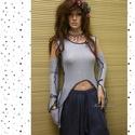 TWIGGY top - bohém felső kesztyűszárral, Ruha, divat, cipő, Női ruha, Felsőrész, póló, Ruha, Világoskék kötött kelméből terveztem ezt a szexisen-romantikus darabot.  Bohém zsebbel készült,feket..., Meska