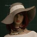 """DÓRA - romantikus vászon kalap, Ruha, divat, cipő, Női ruha, Kendő, sál, sapka, kesztyű, Sapka, A """"florentin"""" kalap formáját idézi ez a széles-karimájú, kávészín lenvászonból készült nyári kalapoc..., Meska"""