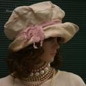 ANDERSEN - design-kalap , Ruha, divat, cipő, Kendő, sál, sapka, kesztyű, Sapka, Női ruha, Romantikus mesék ihlette kézzel-szőtt vastag lenvászonból készült, felhajtós-karimájú fejfedő. Kézze..., Meska