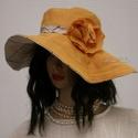 """DÓRA - romantikus  lenvászon kalap, Ruha, divat, cipő, Női ruha, Kendő, sál, sapka, kesztyű, Sapka, A """"florentin"""" kalap formáját idézi ez a széles-karimájú,nap-sárga és kockás lenvászonból készült, mi..., Meska"""