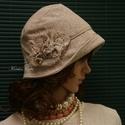 """MARIE cloche - lenszövet flapper kalap, Ruha, divat, cipő, Női ruha, Kendő, sál, sapka, kesztyű, Sapka, Az 1920-as évek divatja köszön vissza """"Marie"""" fantázianevű, kis-karimás, fejhez simuló design-kalapj..., Meska"""