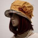 BÖBE-KALAP / napsárga lenvászon kalap, Ruha, divat, cipő, Női ruha, Kendő, sál, sapka, kesztyű, Sapka, Bohém-romantikus nyári modellem napsárga lenvászonból készítettem, kockás puplinnal béleltem, applik..., Meska