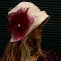 DERBY - lenvászon flapper kalap , Ruha, divat, cipő, Női ruha, Kendő, sál, sapka, kesztyű, Sapka, Ezt az 1920-as évek divatja ihlette, széles karimájú, tűzött- felhajtós elejű kalapom romantikus nők..., Meska