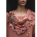 VERONA szett - textilékszer gézblúzzal, Ruha, divat, cipő, Női ruha, Blúz, Kendő, sál, sapka, kesztyű, Artisztikus, puha, lazán omló textilkollázs, stílusos kézzel festett selyem textilékszer extravagáns..., Meska
