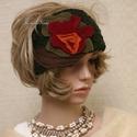 FEJPÁNT - ősz színekben, Keki-zöld bukléból készült fejpánt stilizál...