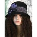 NIGHT FLOWER - design-kalap, Ruha, divat, cipő, Női ruha, Kendő, sál, sapka, kesztyű, Sapka, Felhajtós-karimájú fekete kordbársony-kalap egyedi, bohém gyapjú-textil dekorációval. Bélelt, moshat..., Meska