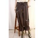 ELVIRA - lagenlook nadrág , Ruha, divat, cipő, Női ruha, Nadrág, Mokka-ezüst csíkos, puha lenszövetből készítettem ezt a kedvelt fazonom: Aszimmetrikus nagy zsebek, ..., Meska