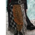 LEONA - patchwork design-szoknya, Ruha, divat, cipő, Női ruha, Szoknya, Extravagáns Nőknek terveztem ezt a válogatott gyapjú-szövetekből,kötött anyagokból és műszőrméből ké..., Meska