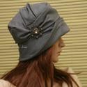 """ERNA cloche - lenvászon flapper kalap, Ruha, divat, cipő, Női ruha, Kendő, sál, sapka, kesztyű, Sapka, Az 1920-as évek flapper divatja köszön vissza """"ERNA"""" fantázianevű, rakott-tetejű, harang-szabású, mé..., Meska"""